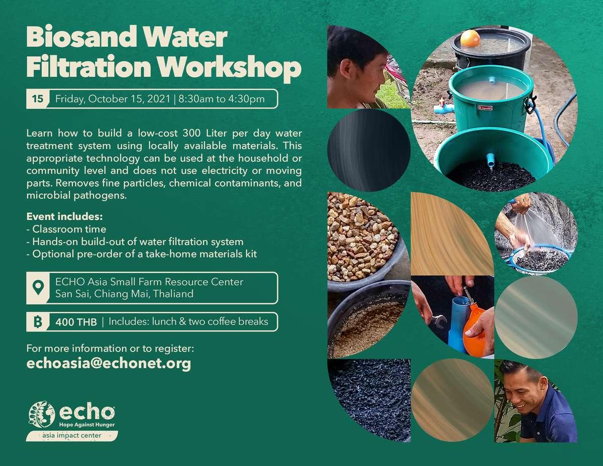 Biosand Water Filtration Workshop flyer